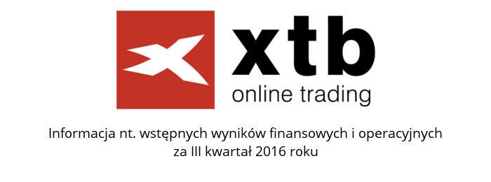 xtb wyniki - Zyski XTB spadły o 92% w 3Q 2016 (R/R)