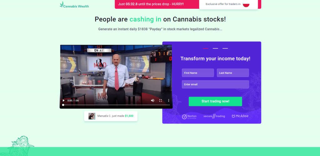 Zrzut ze strony cannabis-wealth.org