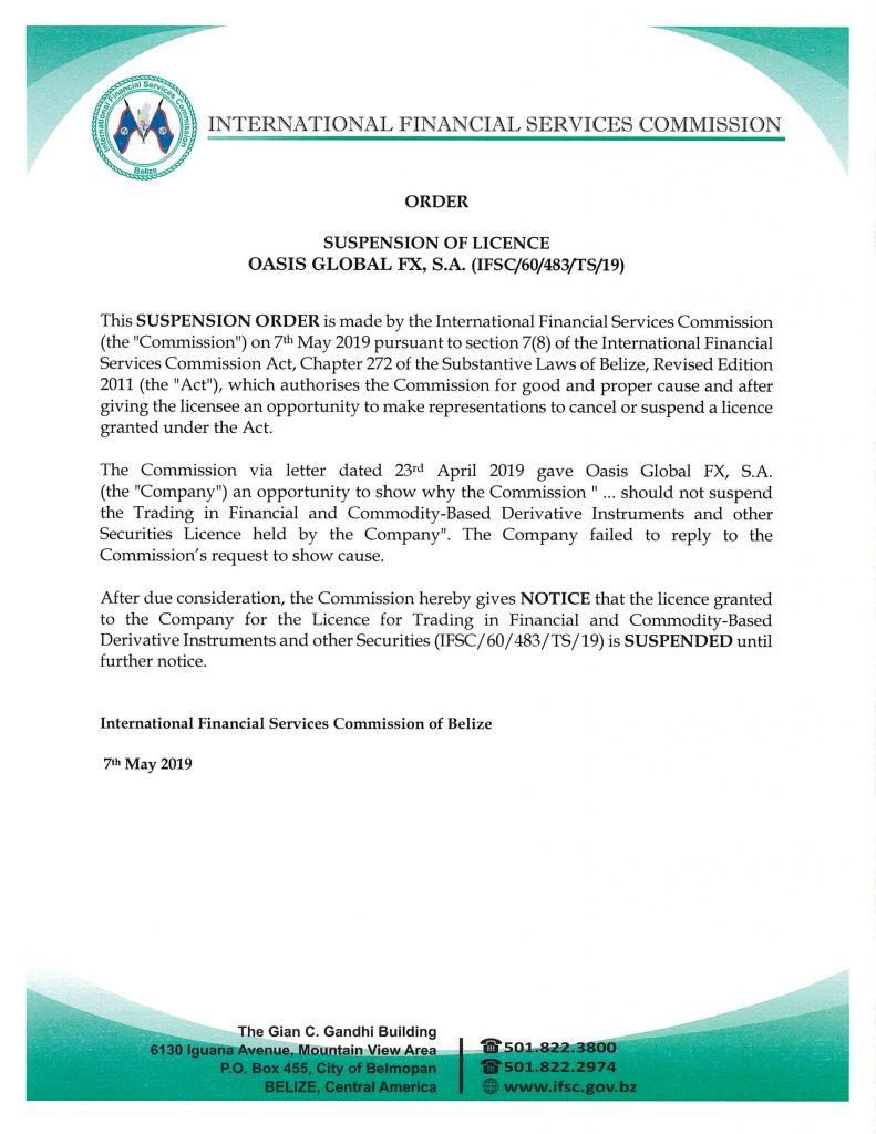 IFSC ostrzeżenie oasis global fx