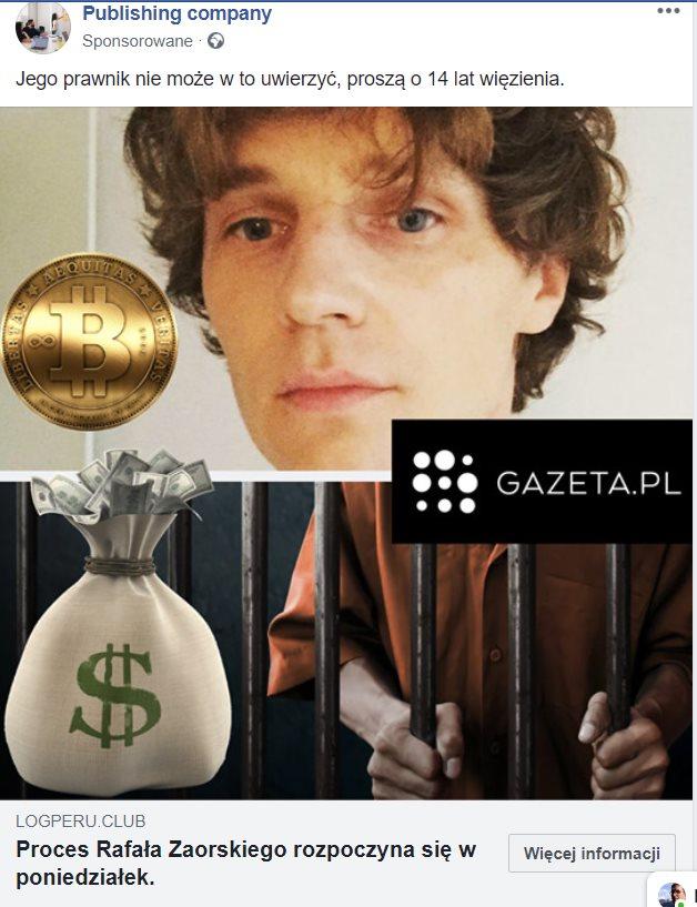 Nagłówek przedstawiający fake news - Rafał Zaorski oskarżony, prawnicy w szoku.