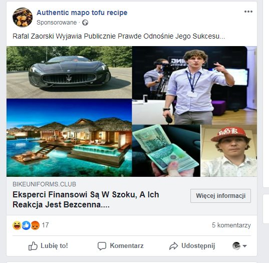 Nagłówek facebookowej reklamy: eksperci w szoku. W kolarzu zdjęć: Zaorski, pieniądze, luksusowy samochód i dom na rajskiej wyspie