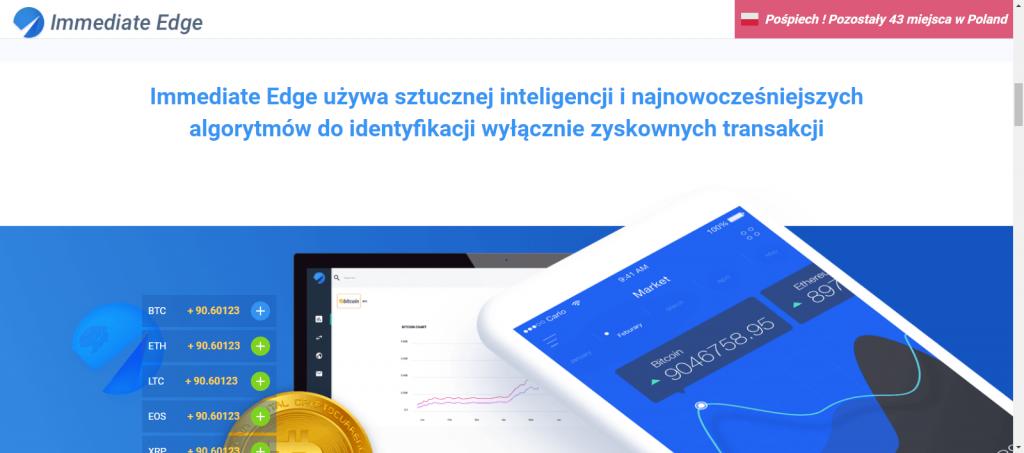 """""""Immediate Edge używa sztucznej inteligencji i najnowocześniejszych algorytmów do identyfikacji wyłącznie zyskownych transakcji"""" - głosi ściema na stronie scamu"""