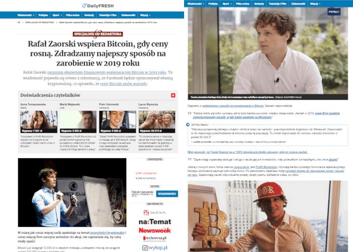Artykuł opowiada o tym, że Rafał Zaorski zachęca nadal do inwestycji w bitcoina. Jest tu dużo zdjęć znanego tradera i linków prowadzących do strony oszustwa.
