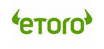 logo brokera etoro, który zamierza dać klientom kartę debetową