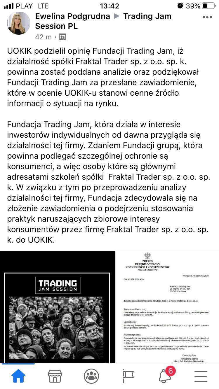 fundacja trading jam session informuje o podziękowaniu od UOKiK