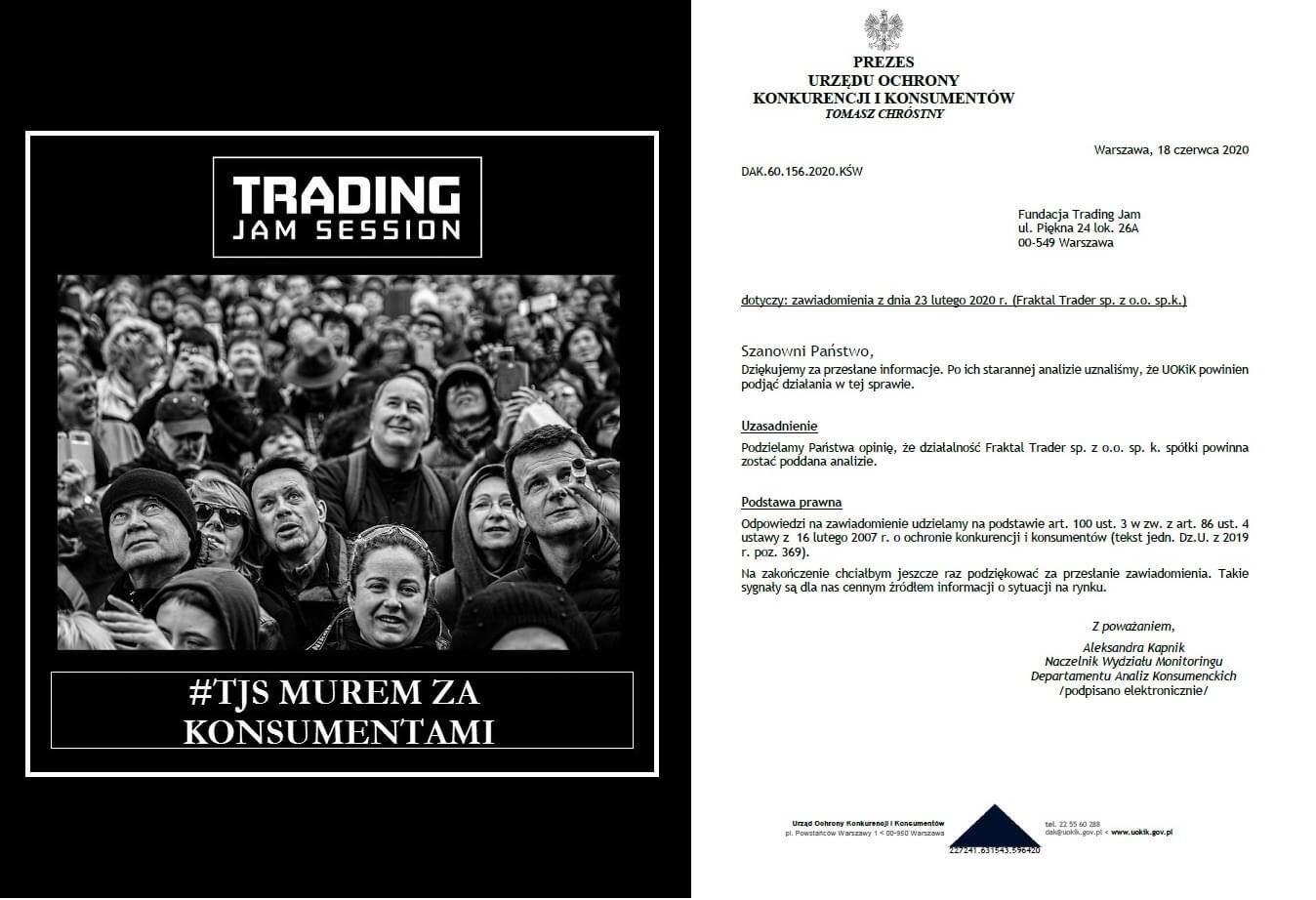 List od UOKiK do Trading Jam