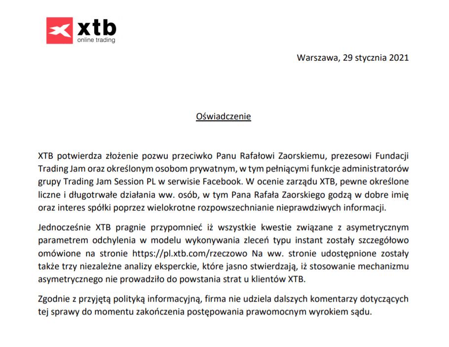oświadczenie xtb
