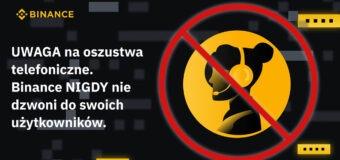 Binance ostrzega przed telefonicznymi oszustwami w Polsce
